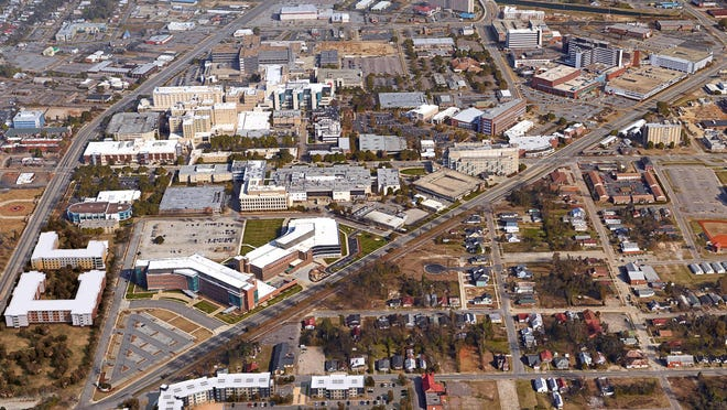 An aerial view depicts downtown Augusta's medical district, a major components of the area's economy. A health care data firm says metro area health care prices are 5% below the national median.