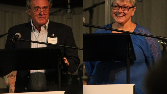Mark Thompson, left, and Molly Balliew, right, are running for the republican nomination for Adair County Second District Commissioner,