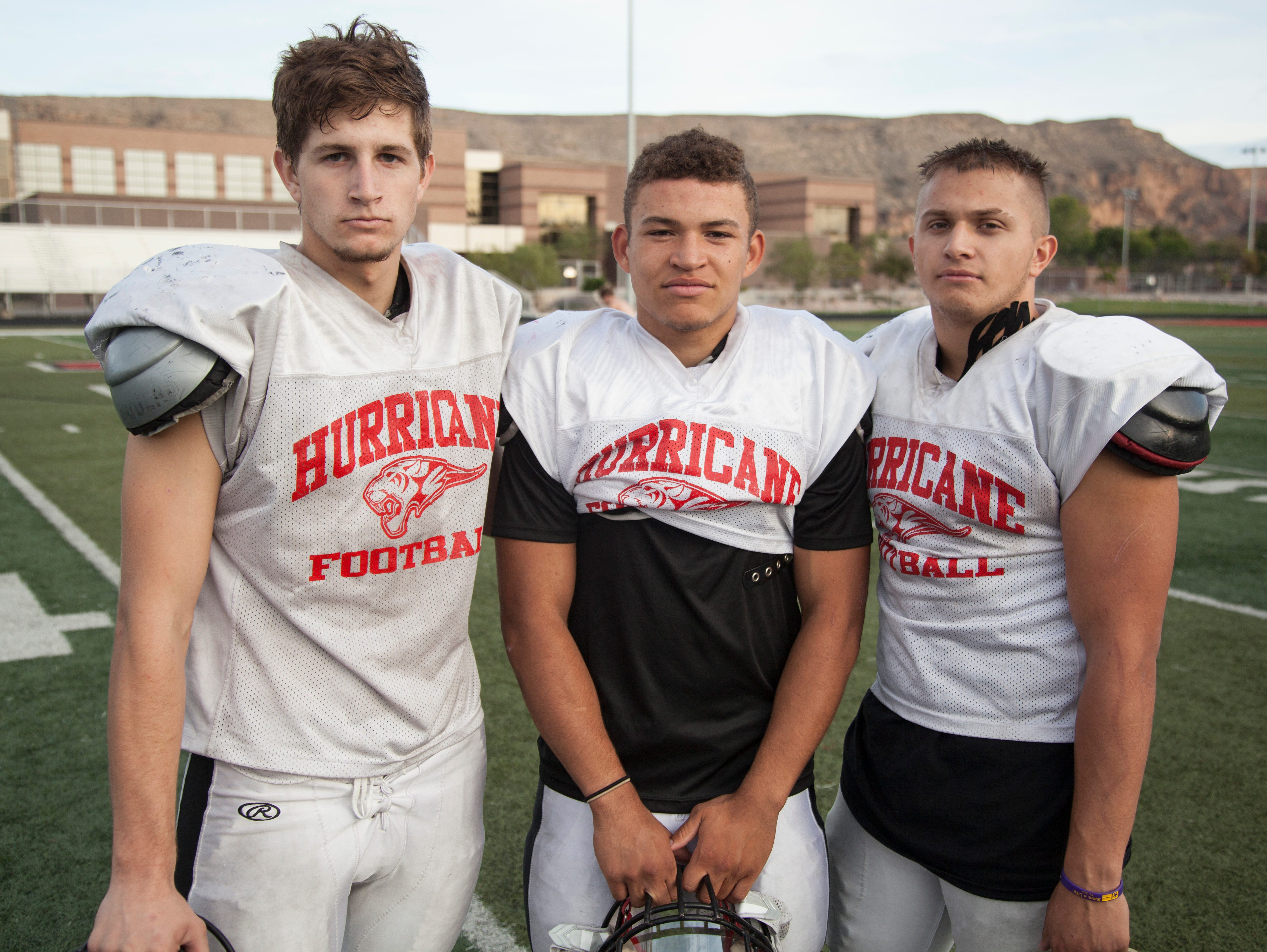 Center Holt Porter, defensive back Nick McDaniel and running back Jacob Carr lead Hurricane into the upcoming playoffs Tuesday, Oct. 27, 2015.