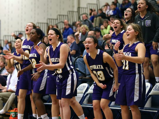Ephrata's bench erupts after a score against Elizabethtown
