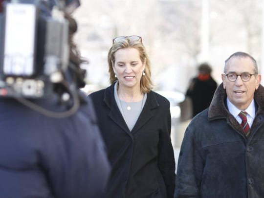 Kerry Kennedy (left) enters Westchester County Courthouse Monday Feb. 24 for her drugged-driving trial.