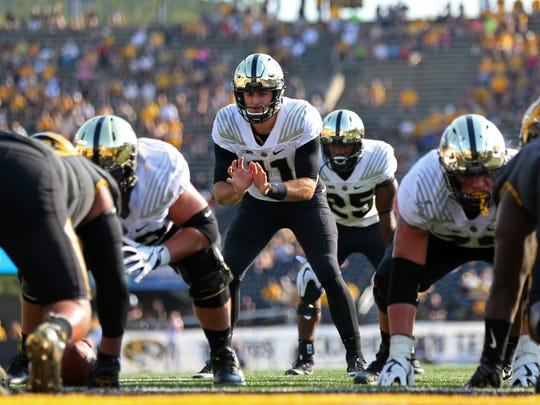 Sep 16, 2017; Columbia, MO, USA; Purdue Boilermakers quarterback David Blough (11) prepares for the snap of the football in the second half against the Missouri Tigers at Faurot Field. Mandatory Credit: Jay Biggerstaff-USA TODAY Sports