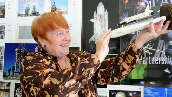 Nancy Kidd, who formerly worked for the Department of Defense, is putting together Rocket Day on Saturday at Strathearn Historical Park & Museum in Simi Valley to celebrate the men and women who worked in the local aerospace industry. The display will include memorabilia and photos from her own collection, including this rocket built by her husband.