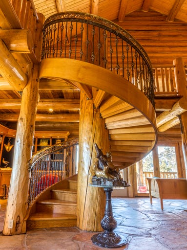 Home of the week luxury log cabin for 2 story spiral staircase