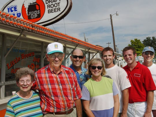 Dan Fortner in 2005, second from the left, with his wife, Lovena; son Mike; daughter-in-law Diana, grandsons Zach (in white), Anthony (in red) and son Chris, far right, shown in front of his food concessions at Ozark Empire Fairgrounds.