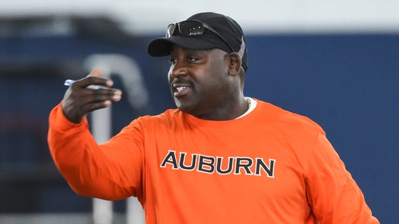Auburn defensive backs coach Wesley McGriff, shown here during a Auburn spring football practice on March 1, 2016, is currently in negotiations with Ole Miss to become their next defensive coordinator.