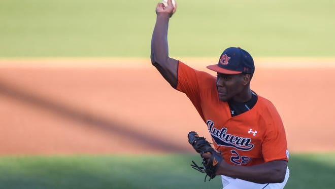 Auburn pitcher Daniel Sprinkle allowed just one unearned run in 5 1/3 innings as Auburn defeated UAB 4-1 on May 17, 2016.