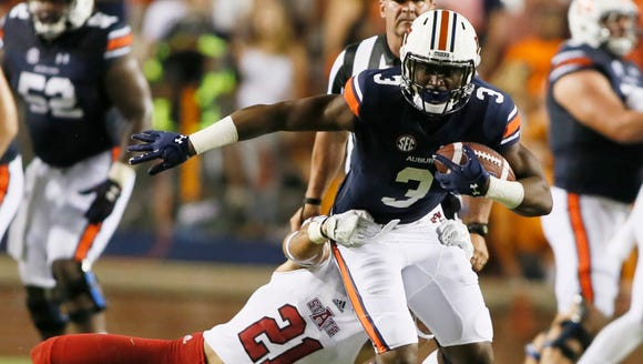 Auburn Tigers receiver Nate Craig-Myers (3) is tackled