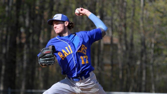 North Brunswick pitcher # 17-Eric Reardon on the mound vs Colonia on Wednesday April 29,2015.
