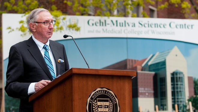 Paul Gehl speaks at the groundbreaking 2013 ceremony for the Gehl-Mulva Science Center at St. Norbert College in De Pere.