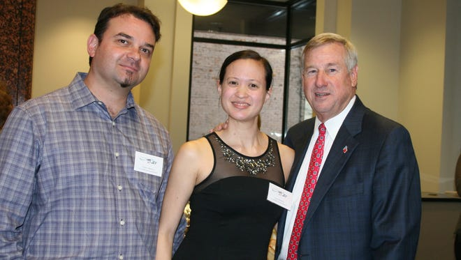 Among those enjoying the Montgomery Ballet's recent Sponsor Appreciation Reception were, from left, Joseph Villalobos and Laura Villalobos, the ballet company's co-Artistic Directors, with Montgomery Mayor Todd Strange (Contributed)