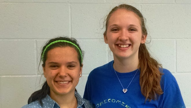 Wisconsin Valley Lutheran High School freshman Eliza Morgan, left, and junior Ivy Zelinski placed in the top 10 percent in Central Wisconsin Math League competition.