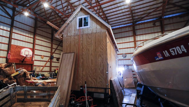 A small house that James Moriset is building on an 8-foot by 24-foot trailer Monday, Feb. 15, 2016. He hopes to live in the house in Grimes.