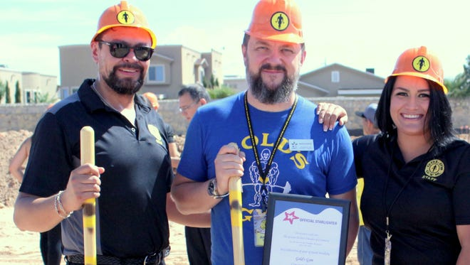 Left to right: Dr. Carlos Viesca, owner of RCJ Enterprises, the Gold's Gym El Paso franchise holder, Anton Conlon, RCJ's chief operating officer, and Andrea Gonzales, general manager of Gold's Gym in El Paso. They were at a ground breaking July 24 for a second El Paso location.
