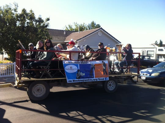 Members of the Washington City Community Band perform during the Veteran's Day parade.