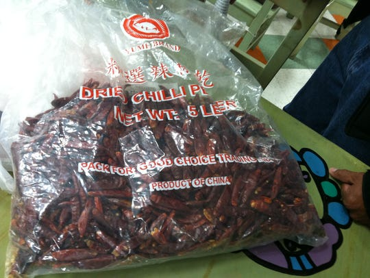 A bag of dried red chiles sold in El Paso states that