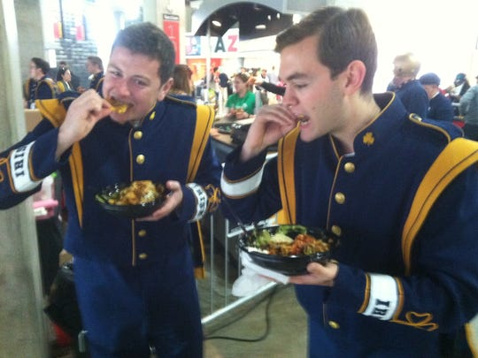 Notre Dame marching band members Brian Brown (left)
