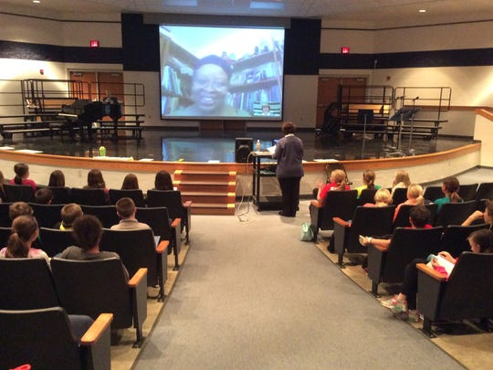 """The Mock Newbery Reading Group Skypes with author Rita Williams-Garcia, whose book """"Gone Crazy in Alabama"""" received the Corretta Scott King (Author) Book Award."""