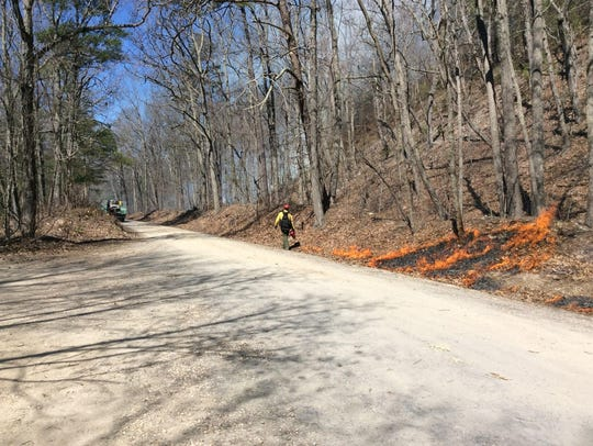 Fire crews set controlled burns to create a fire line