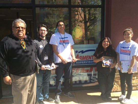 Fernando Armenta and young volunteers on the campaign trail.