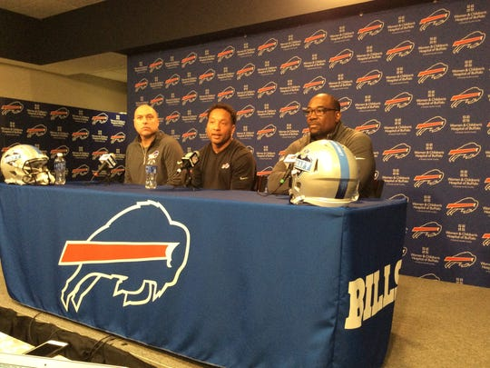 From left, Jim Monos, Doug Whaley, and Kelvin Fisher talk about the 2016 NFL Draft. Bills have six picks in top 156.