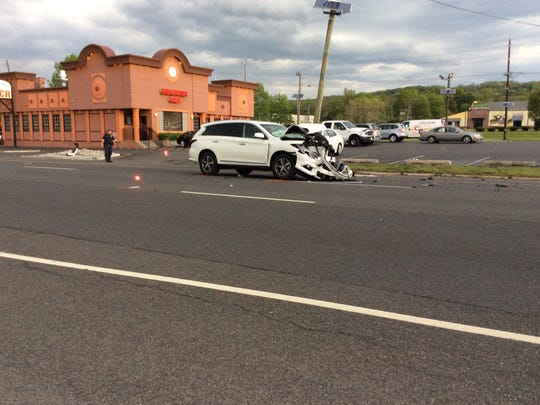 This white SUV was extensively damaged in a three-car colision by the Bridgewater Diner.