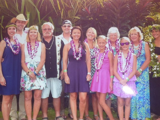 Hawaii Birthday Dorothy Stephens celebrated her 90th birthday in grand style with a cruise around the Hawaiian Islands.  Dorothy is standing  fourth from the right, between her great-granddaughters, Ellie and Mia Ricketts.  Also pictured are daughters Sandy Bruno and Pam Ricketts with husband Dave Ricketts, grandsons Davey Ricketts with wife Allison, and Ben Ricketts with friend Danielle and great-niece Casey Cullen.