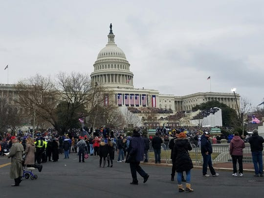 A crowd gathers at the Presidential Inauguration in