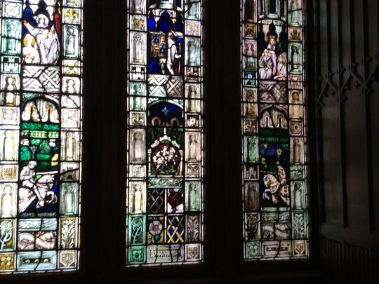 This stained-glass window is in the grand ballroom