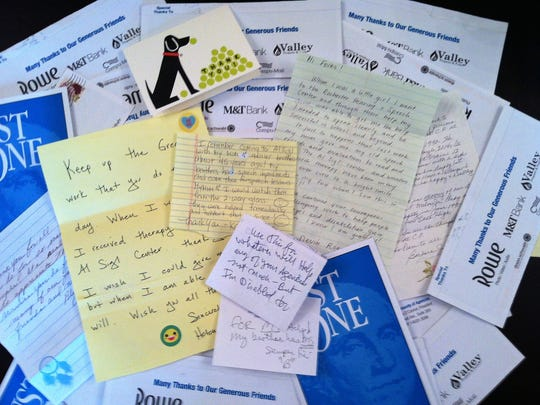 A sample of thank you notes and letters to Al Sigl Community of Agencies, submitted each year for the Just One campaign.
