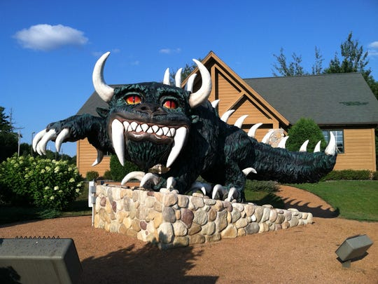 The Rhinelander Hodag looms in front of the Rhinelander