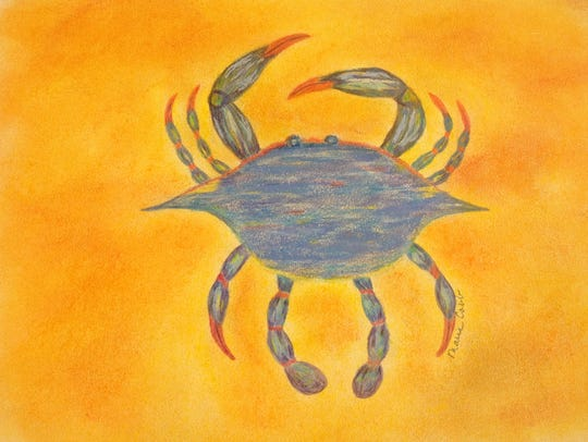 """""""Jersey Blue Crab,"""" a pastel by Marie Cobb – a member"""