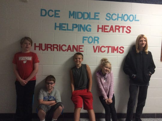 D.C. Everest Middle School students exceeded their fundraising goal to help hurricane victims.
