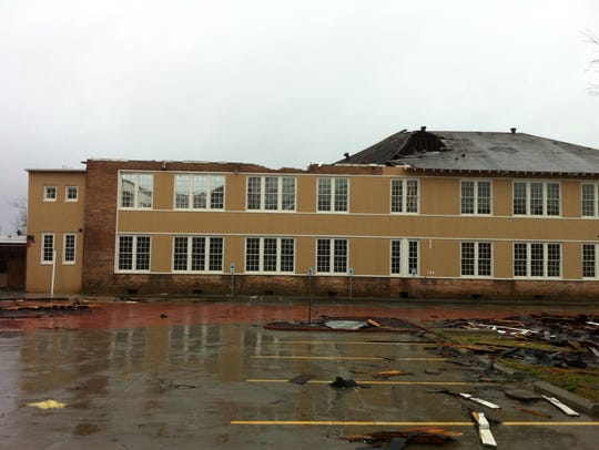 Damage to the Eureka School after the 2013 tornado.