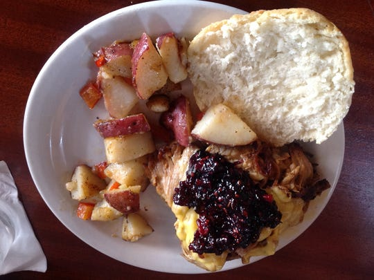 The Ham and Jam ($9) had slow smoked pork with gruyere cheese, topped with house-made blackberry thyme jam, served on a biscuit with a side of roasted potatoes. The biscuits are great at Lindberg's.