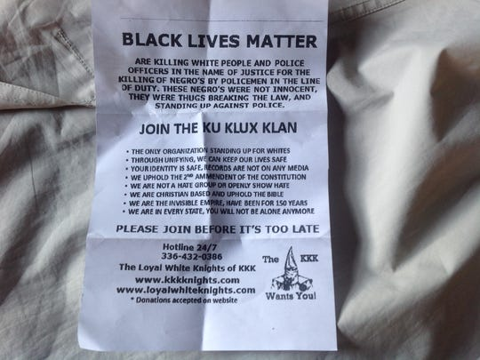Ku Klux Klan recruitment flyers have been found in