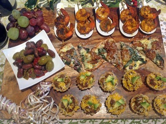 Moroccan shrimp, savory flatbread, taco bites and olives