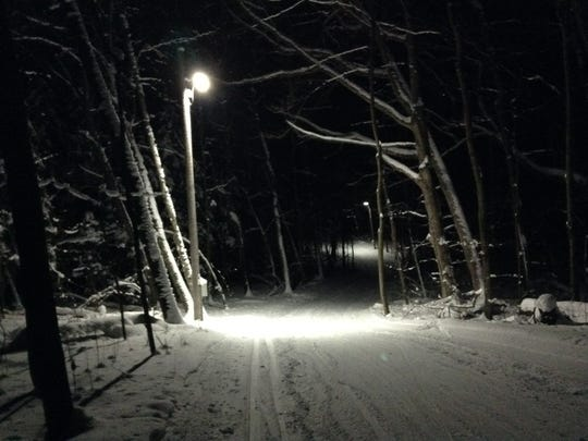 The Greenbush Trails' brown loop is lighted for early morning and night skiing.