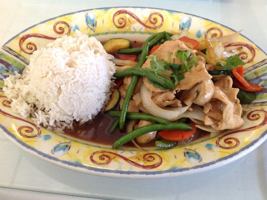 Ginger chicken is one of my favorite dishes at Thai Peppers. The lunch portion is $7.99 and comes with soup or salad.
