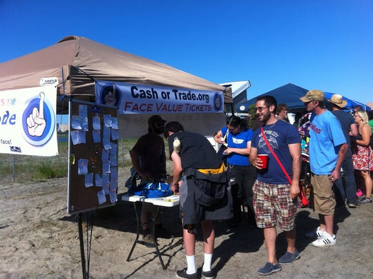 The CashorTrade booth at a Phish concert in Atlantic City, New Jersey, in 2012.