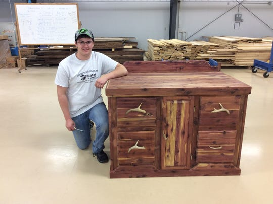 Tanner Kocher took third place in the furniture class in Northcentral Technical College's Wood Technology Contest.