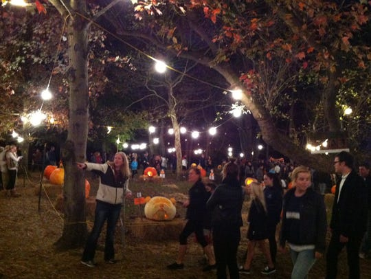Crowds line up to view the pumpkins at The Chadds Ford
