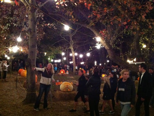 Crowds line up to view the pumpkins at The Chadds Ford Great Pumpkin Carve, Oct. 25, 2014.