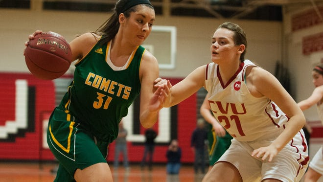 BFA's Jessica Hilt (31) drives to the hoop past in last week's game at Champlain Valley. On Monday, BFA beat Rice.