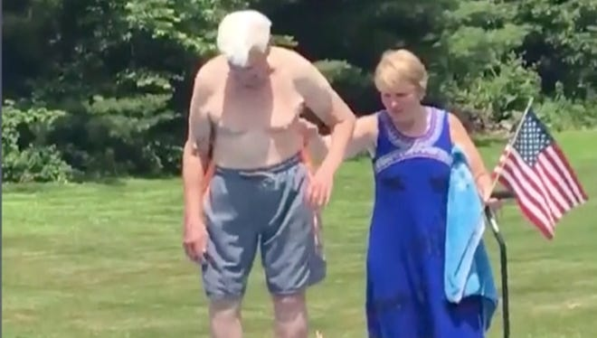 We're a ball of nerves watching this 95-year-old Air Force veteran inch his way to the edge of the diving board.