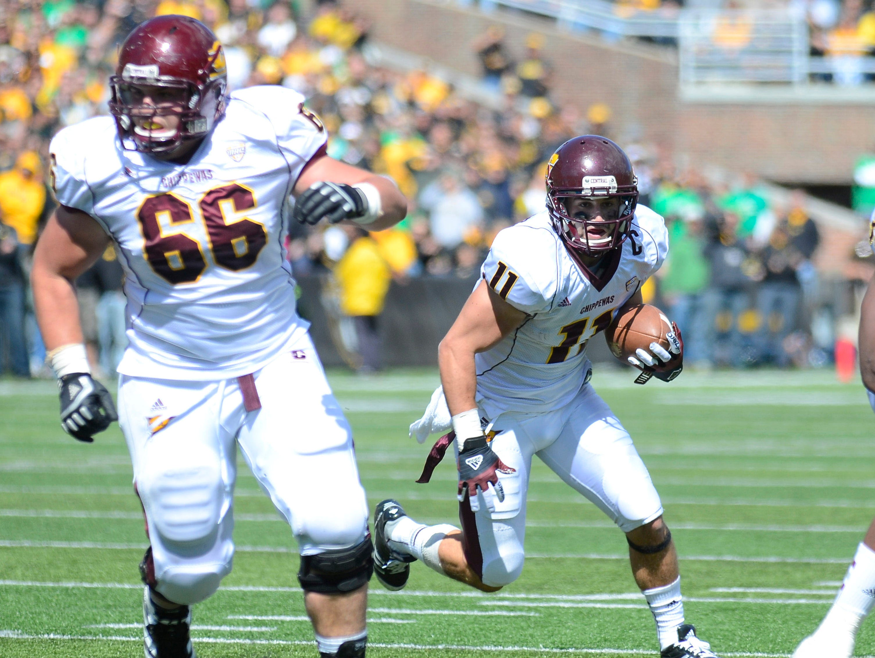 Waverly graduate and CMU offensive lineman Andy Phillips (66) hopes to land a shot with an NFL team.