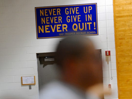 Encouragement on the wall behind as Michigan State