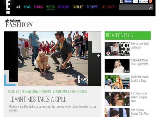 "Screen shot of E! News website, featuring video captioned ""LEANN RIMES TAKES A SPILL"""