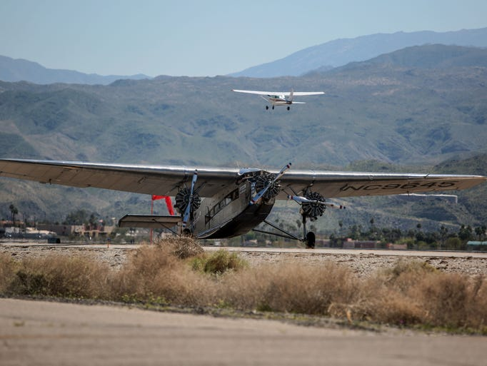 Historic Liberty Ford Tri Motor Plane Flies Over Palm Springs