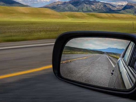 View from a rearview mirror.